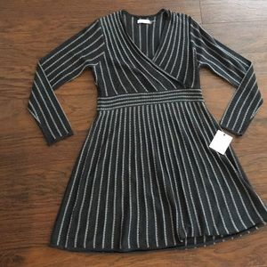 Calvin Klein Charcoal gray sleeve dress pinstripes